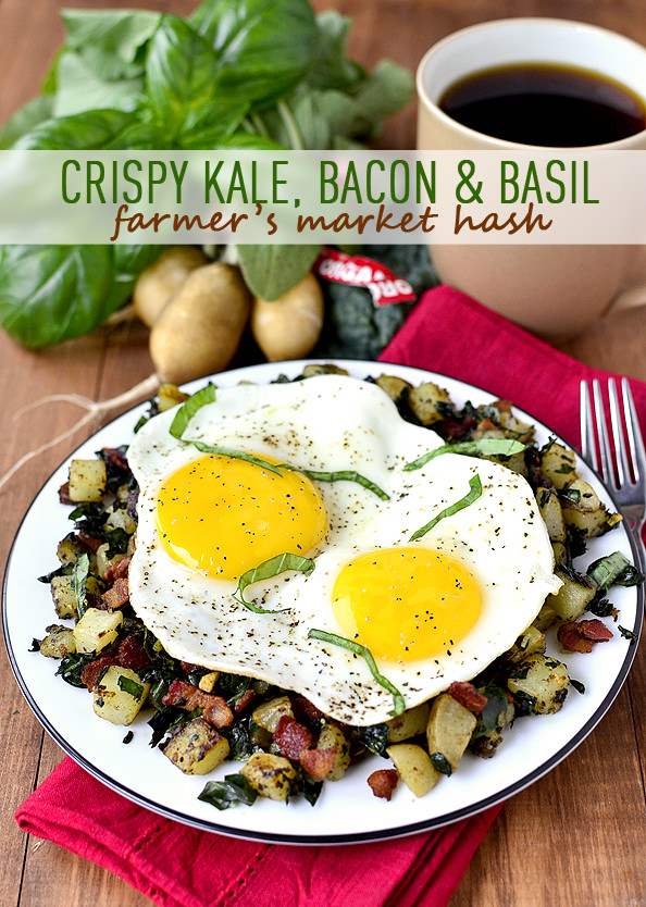 Crispy Kale, Bacon & Basil Farmer's Market Hash | iowagirleats.com