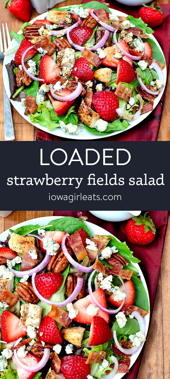 Photo collage of Loaded Strawberry Fields Salad
