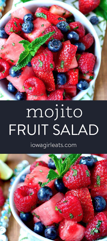 Photo collage of mojito fruit salad
