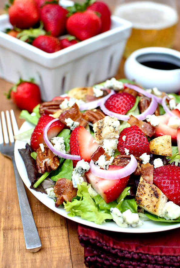 Plate of strawberry fields salad