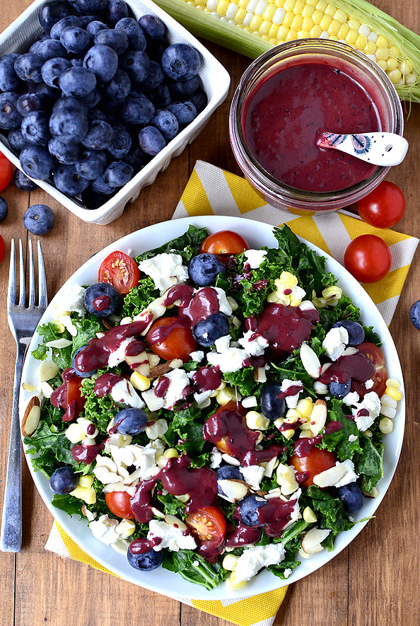 Best of Summer Kale Salad with Blueberry-Balsamic ...