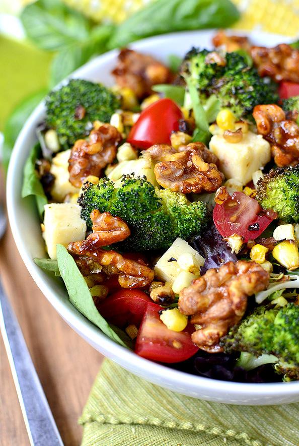 Earth Bowl Salads with Smokey Candied Walnuts and Basil Vinaigrette (a sweetgreen copycat recipe!) | iowagirleats.com
