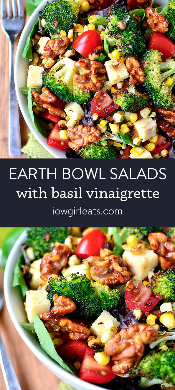 Photo collage of earth bowl salads