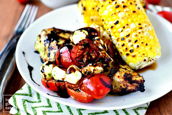 vibrant photo of grilled caprese chicken