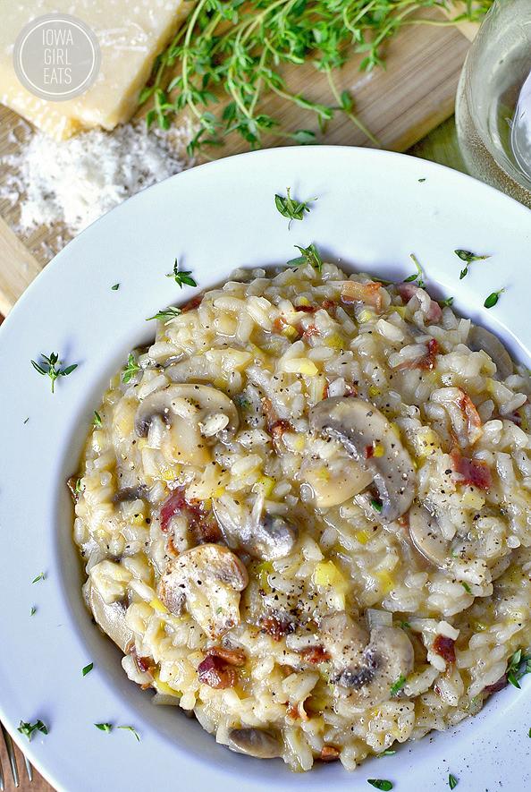 Bacon, Leek and Mushroom Risotto #glutenfree | iowagirleats.com