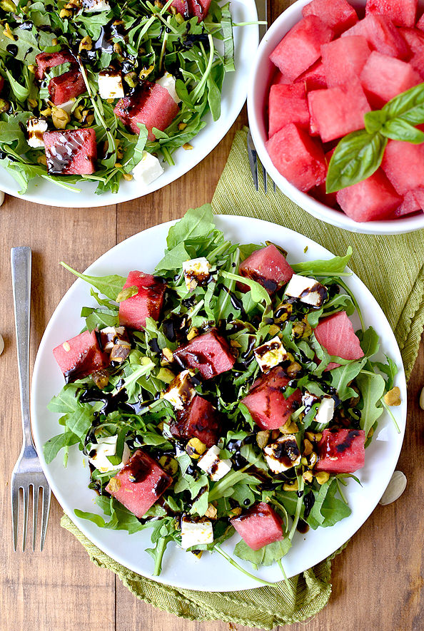 Watermelon, Feta, Basil and Pistachio Salad with Reduced Balsamic ...