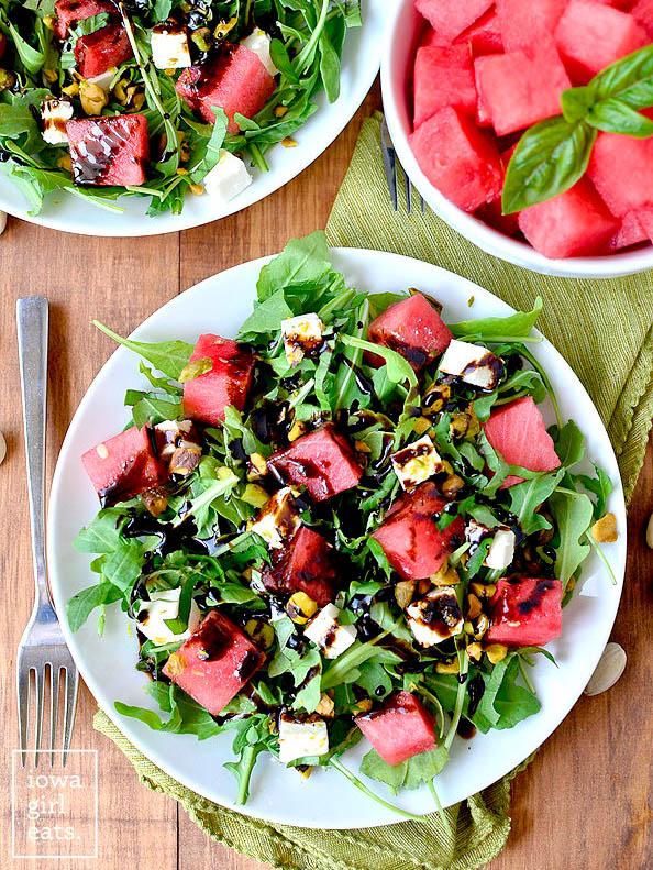 overhead photo of a plate of watermelon feta salad
