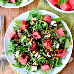 watermelon feta salad on a plate