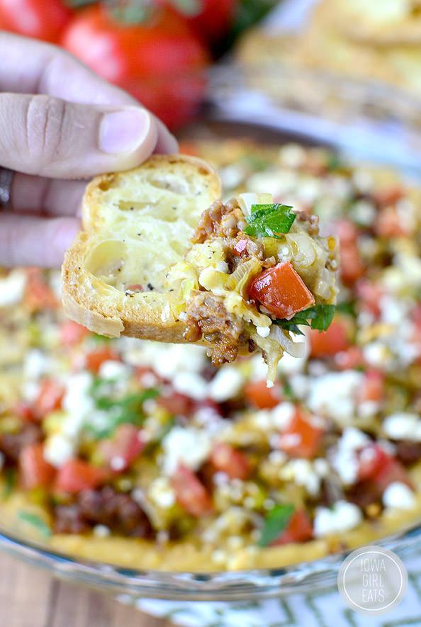 5-Layer Baked Hummus Dip   iowagirleats.com