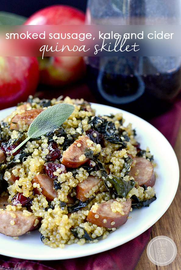 Smoked Sausage, Kale and Cider Quinoa Skillet #glutenfree | iowagirleats.com