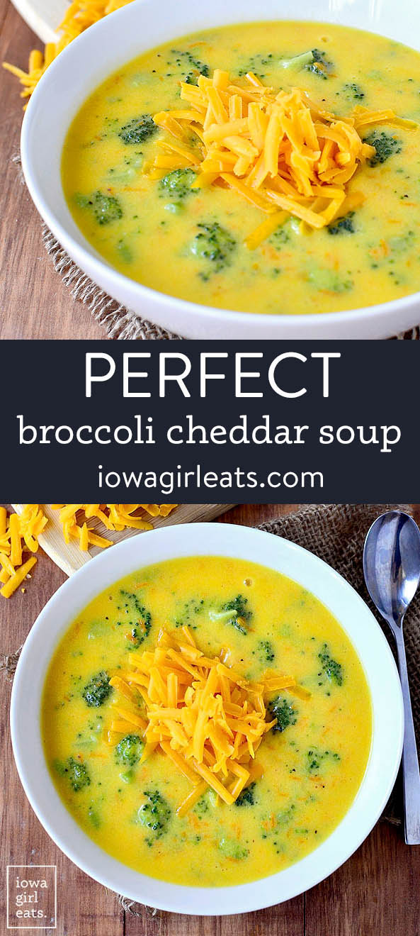 photo collage of perfect broccoli cheddar soup