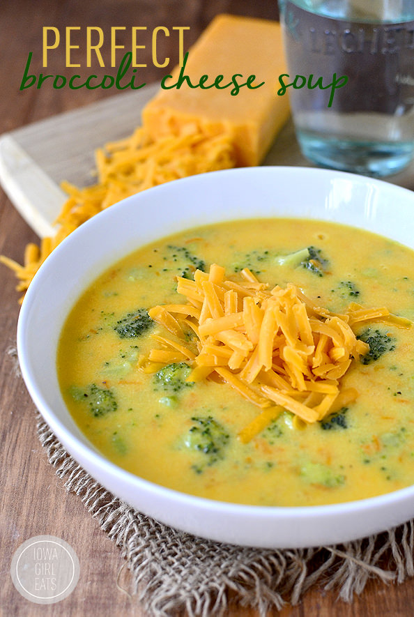 Perfect Broccoli Cheese Soup #glutenfree | iowagirleats.com