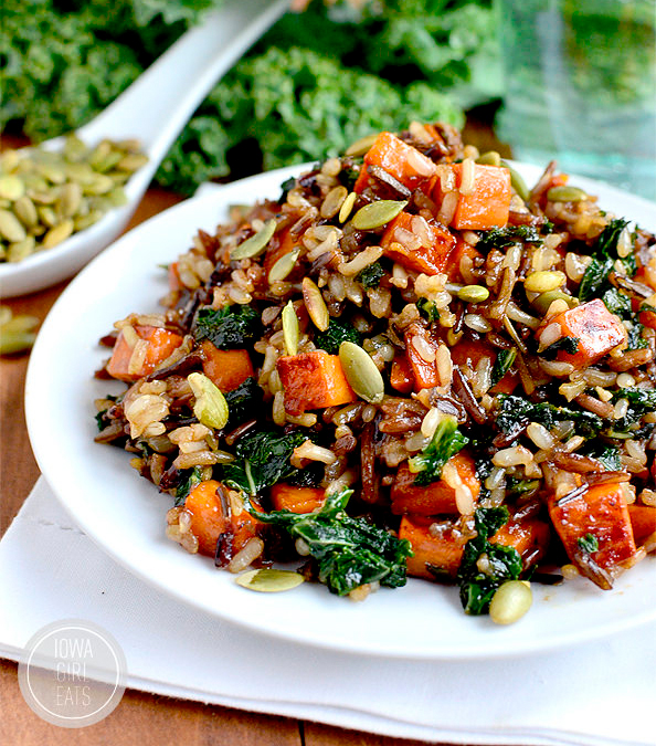 healthy caramelied sweet potato and kale fried wild rice on a plate