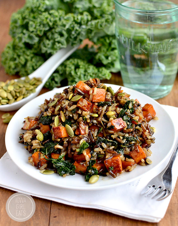 Caramelized Sweet Potato and Kale Fried Wild Rice #glutenfree | iowagirleats.com