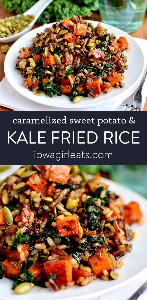 photo collage of caramelied sweet potato and kale fried wild rice