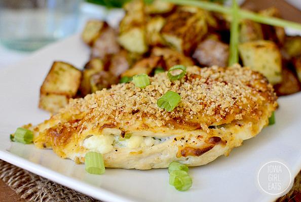 Crunchy Stuffed Buffalo Chicken with Ranch Roasted Potatoes #glutenfree   iowagirleats.com