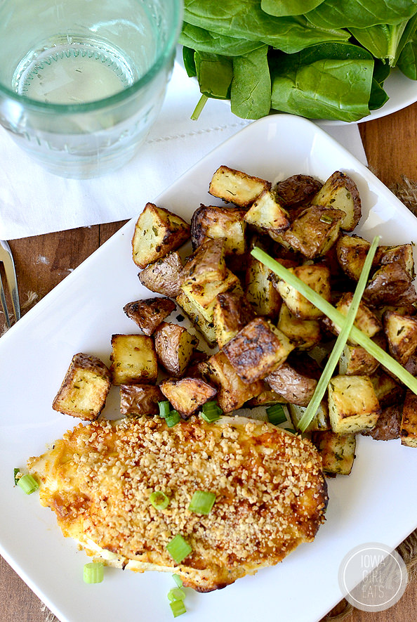 Crunchy Stuffed Buffalo Chicken with Ranch Roasted Potatoes #glutenfree | iowagirleats.com