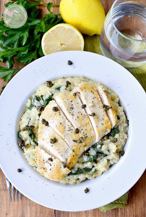 Lighter Chicken Picatta Risotto with Crispy Capers #glutenfree   iowagirleats.com