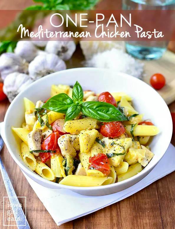 bowl of gluten free one pan mediterranean chicken pasta