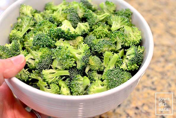 broccoli florets in a bowl