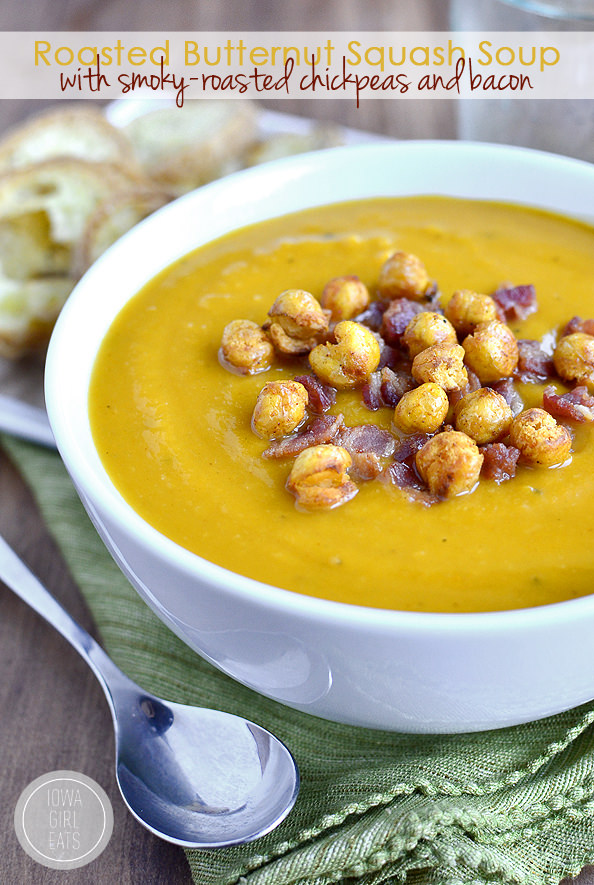 Roasted Butternut Squash Soup with Smoky-Roasted Chickpeas and Bacon # ...