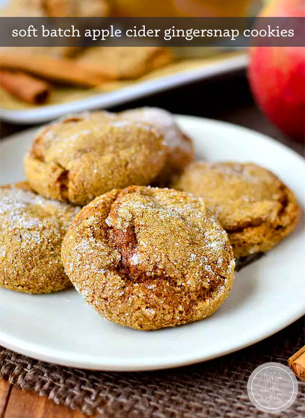 close up photo of a plate of soft batch apple cider gingersnap cookies