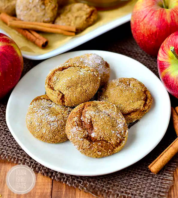 soft batch apple cider gingersnap cookies sitting on a plate