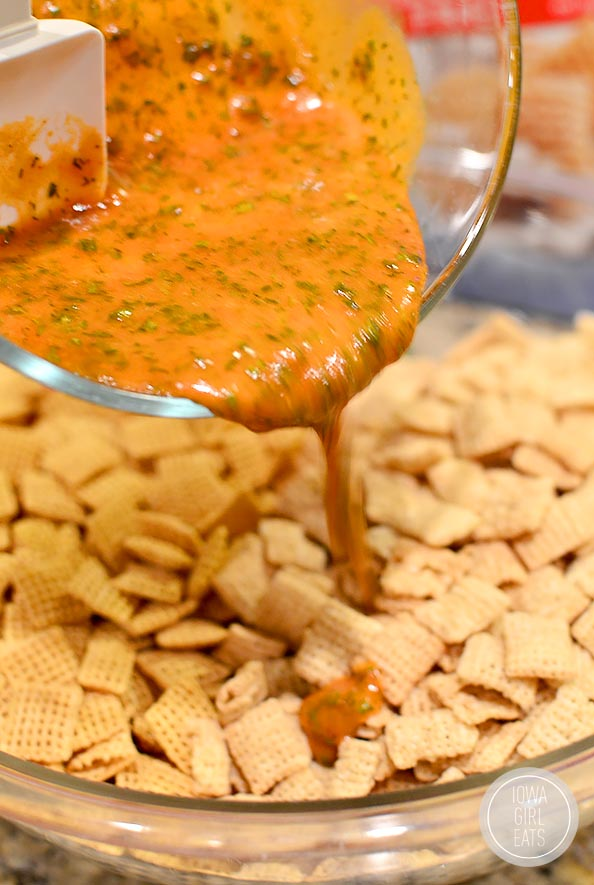 Gluten Free Buffalo Cheddar Ranch Chex Mix #snack | iowagirleats.com