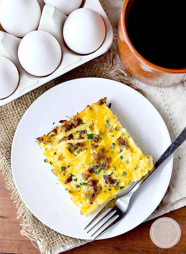 overhead photo of a slice of gluten free breakfast casserole