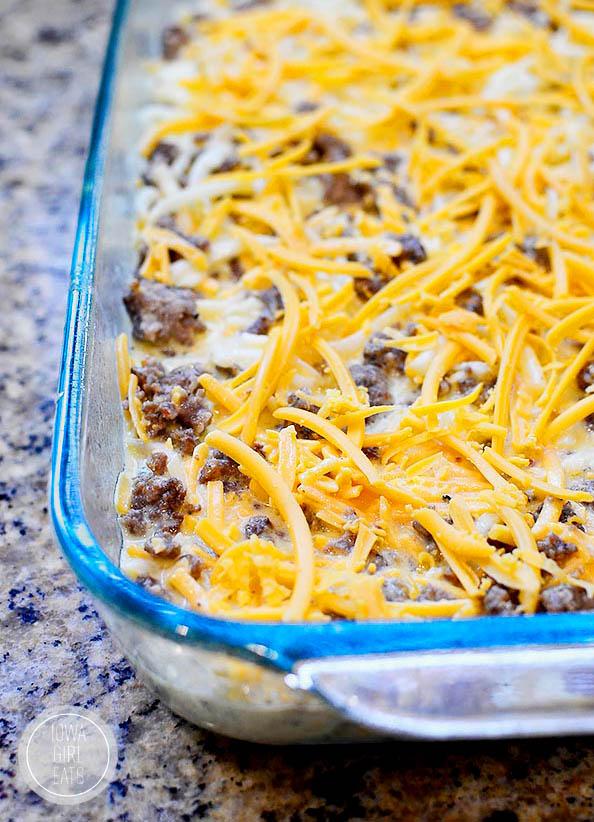 baking dish with gluten free breakfast casserole ingredients in it