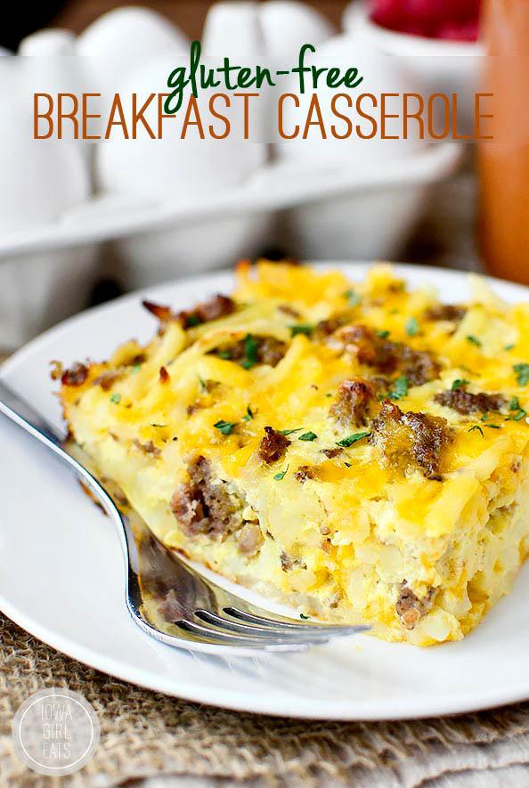 gluten free breakfast casserole slice on a plate with a fork