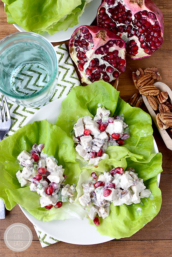 Honey, Pomegranate, Pecan Chicken Salad Lettuce Wraps #glutenfree ...