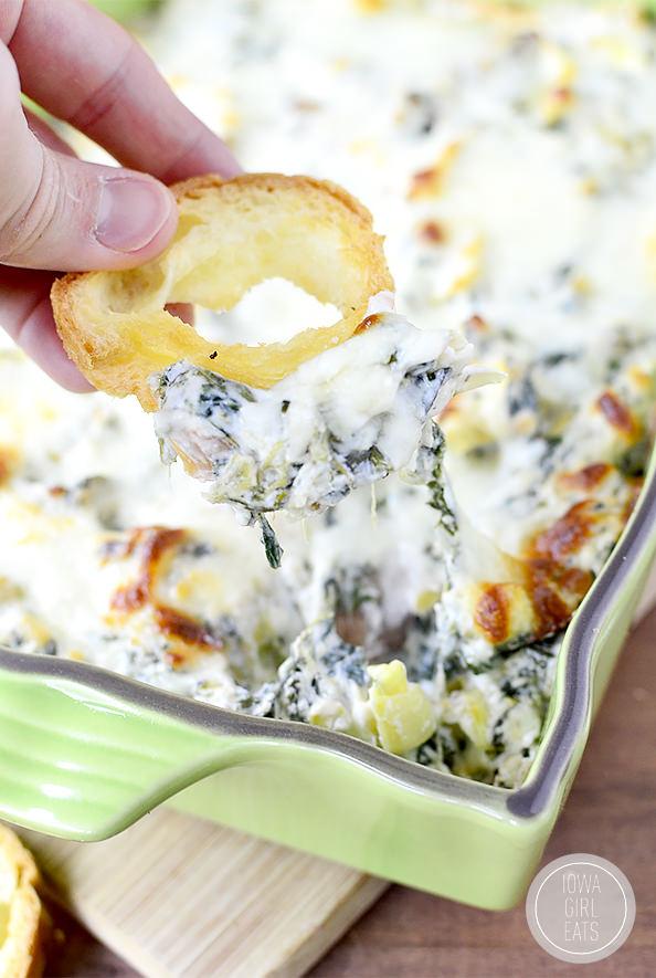 Hot and Cheesy, Spinach, Artichoke, and Mushroom Dip #glutenfree #appetizer   iowagirleats.com
