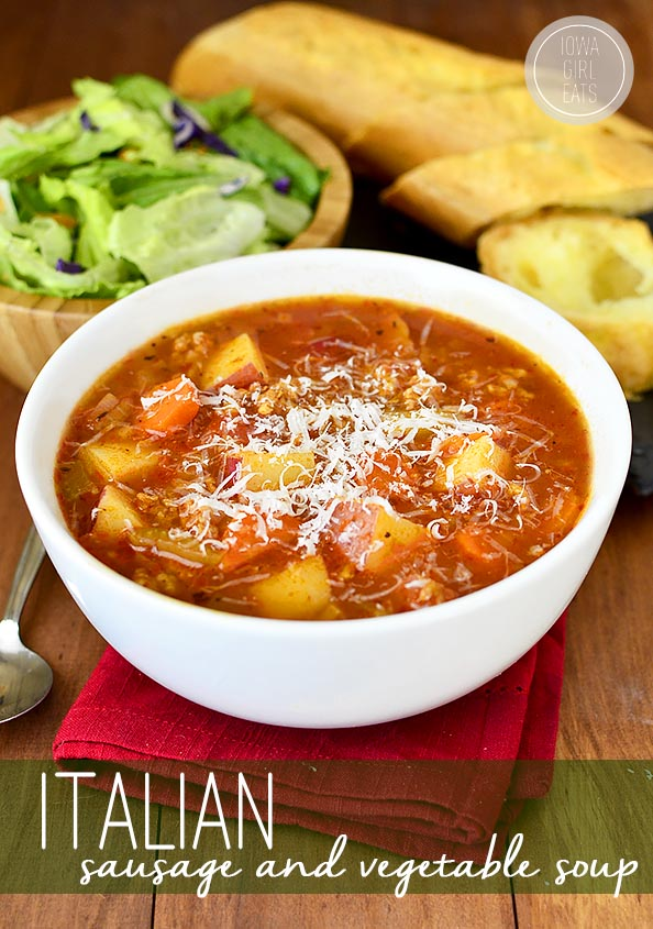 Bowl of Italian Sausage and Vegetable Soup