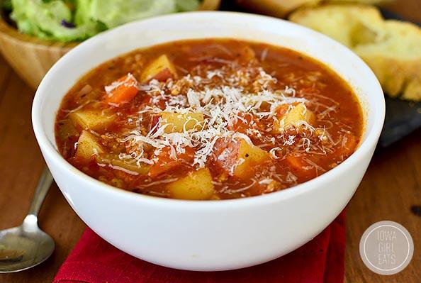 horizontal image of bowl of soup