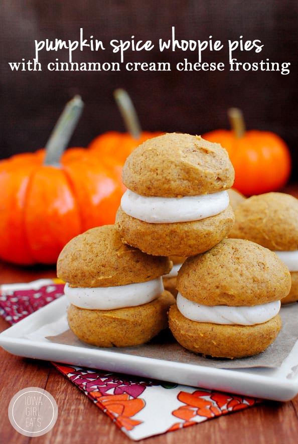 Pumpkin Spice Whoopie Pies with Cinnamon Cream Cheese Frosting | iowagirleats.com