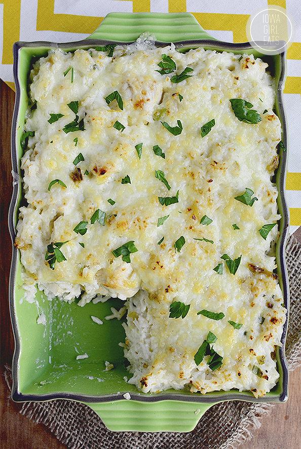 Salsa Verde Chicken and Rice Casserole #glutenfree | iowagirlea