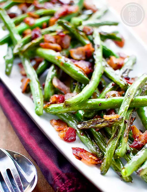 platter of sauted green beans and bacon