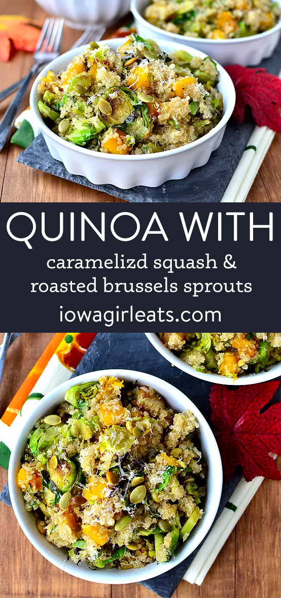 photo collage of quinoa with caramelized butternut squash and roasted brussels sprouts