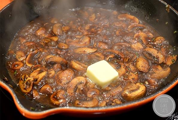 Rosemary and Mushroom Swiss Pan Burgers | iowagirleats.com