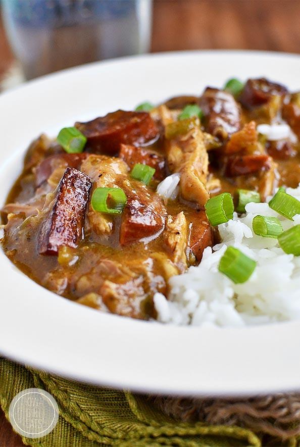 Smoked Sausage and Chicken Gumbo | iowagirleats.com
