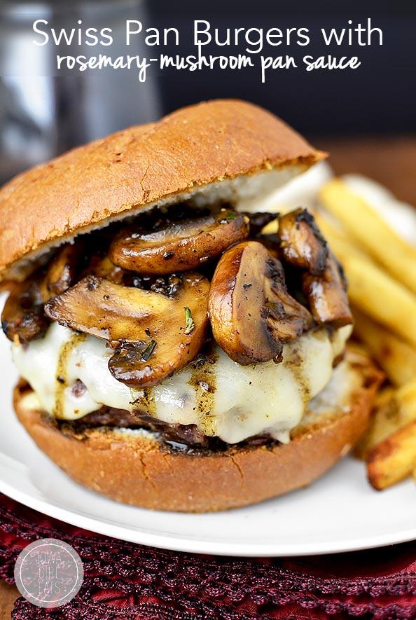 Swiss Pan Burgers with Rosemary Mushroom Sauce | iowagirleats.com