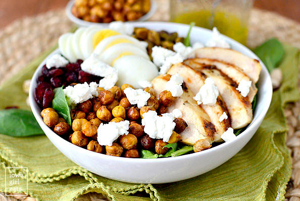 chicken power bowl salad in a bowl