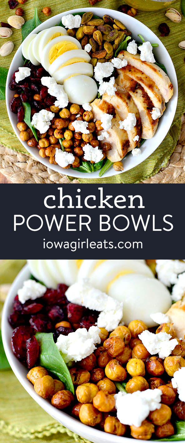 photo collage of chicken power bowls