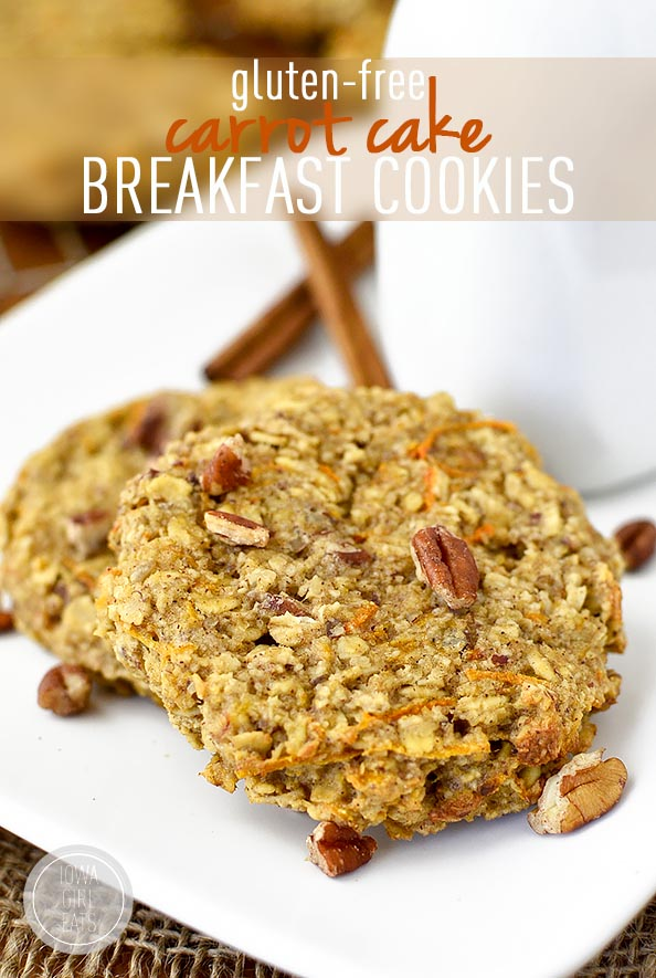Gluten Free Carrot Cake Breakfast Cookies #glutenfree | iowagirleats ...