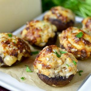 Gluten-Free French Onion and Prosciutto Stuffed Mushrooms