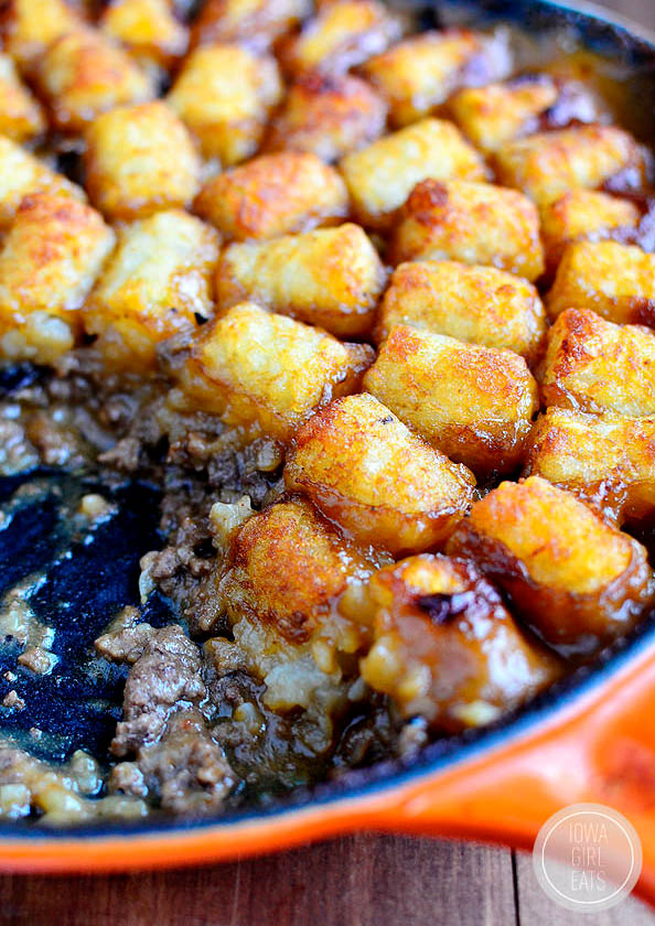 tater tot casserole in a skillet