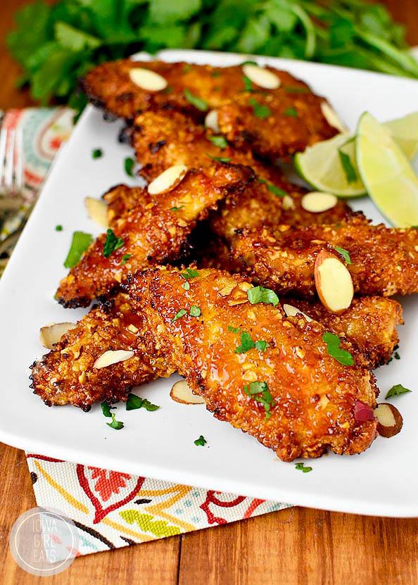 platter of thai sticky chicken fingers