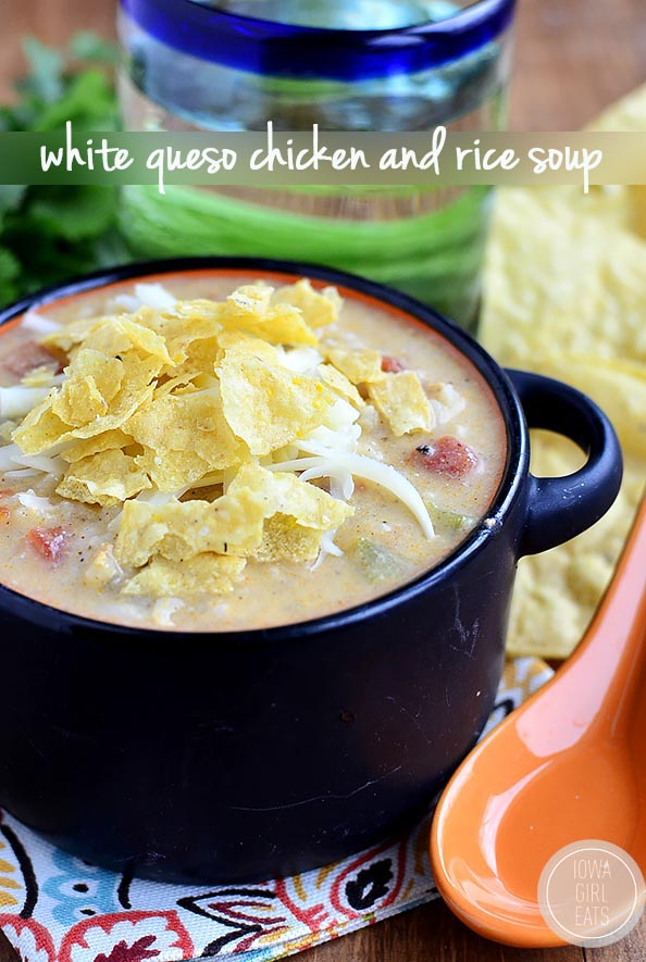 Gluten-free White Queso Chicken and Rice Souptasteslike white queso dip but is made with zero processed cheese. This easy soup recipe is creamy, cheesyand delicious!   iowagirleats.com