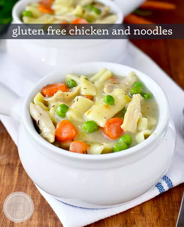 homemade gluten free noodles in a bowl with chicken and vegetables